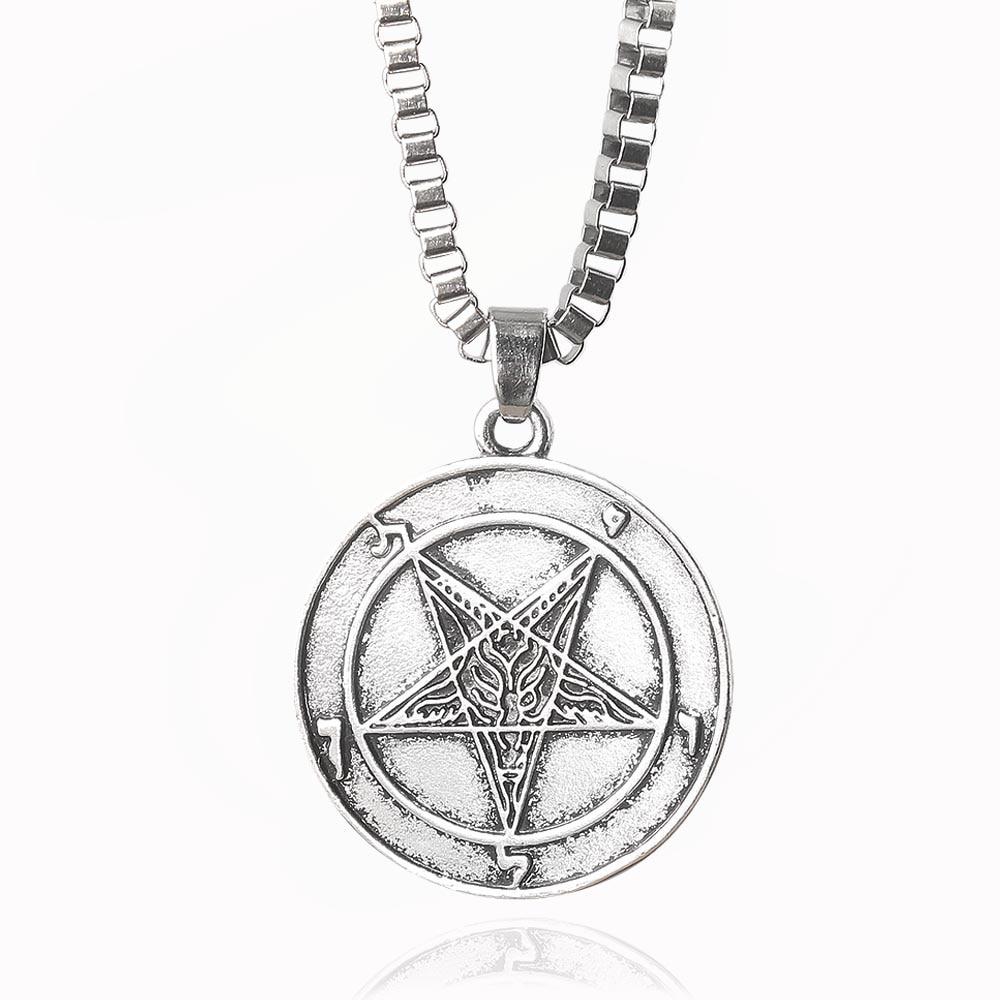 Sigilo de Lucifer satánico collar de símbolo pentagrama invertido Samael Lilith Baphomet cabra gargantilla para hombres nórdica joyería vikinga