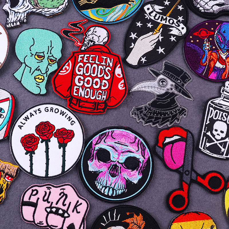 Нашивки в стиле панк с черепом на одежду, термоклейкие значки в стиле хиппи для байкеров, вышитая нашивка для одежды «сделай сам»