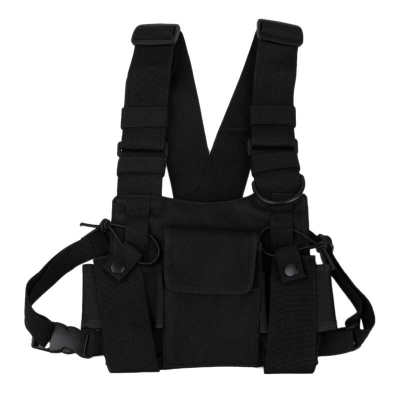 Walkie-talkie mochila saco de peito colete de couro