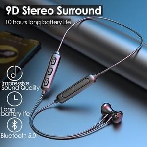 Магнитные беспроводные наушники Bluetooth 5,0, Спортивная стереогарнитура с шейным ободом, наушники-вкладыши, наушники с микрофоном для всех телефонов