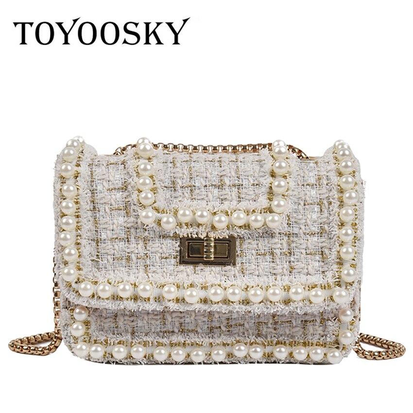 TOYOOSKY Fashion Women's Designer Handbag Quality Woolen Plush Women Bag Pearl Chain Shoulder Messenger bag Simple Square Bag