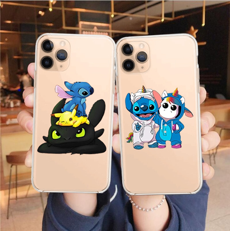 Phone Case For iPhone 11cute cartoon Stitch unicorn Case For iPhone 11 Pro XS MAX XR X 6s 6 7 8 Plus Transparent Soft TPU Cover