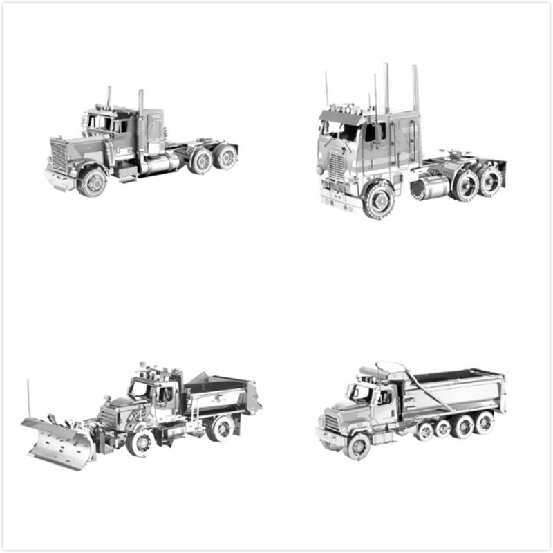 Juego de rompecabezas de Metal 3D de camión de Punta larga FLC, juego de modelos Freightl, quitanieves, rompecabezas láser DIY para adultos, niños, Navidad, juguete de regalo para adultos