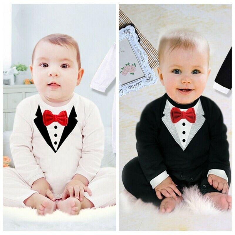Newborn Infant Baby Boy Tie Print Romper Long Sleeve Gentleman Bodysuit Jumpsuit Clothes Outfits