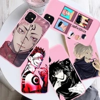 cartoon anime jujutsu kaisen yuji itadori fushiguro megumi funda pink phone case for iphone 12 11 pro x xs max xr 7 8 plus cover