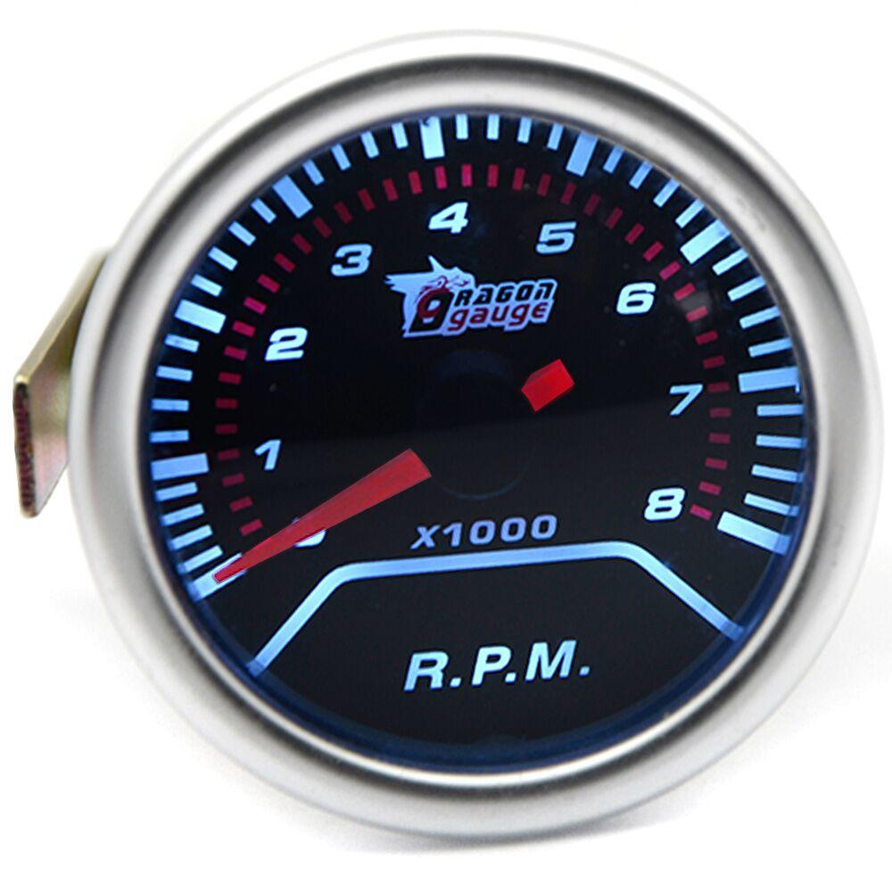 "2 ""52mm universal tacômetro rpm carro medidor de calibre auto branco led 0-8000 rpm 4 6 8 cilindros"