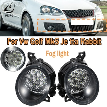 PMFC Fog Light Lamp 9LED Bright White Left & Right For VW Golf Mk5 Jetta Rabbit 2005-2009 Car Accessories 1Kd941700 1Kd941699