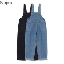 Nbpm New 2021 Fashion Denim Overalls Baggy Jeans Woman High Waist Girls Streetwear Mujer Trousers Pa