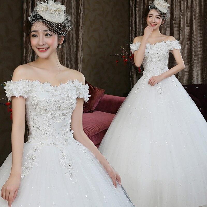 فستان زفاف العروس 2021 جديد الكتف الكورية الزهور ضئيلة استوديو الزفاف الغزل.