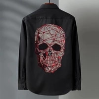 new trend design lapel long sleeved shirt exquisite rhinestone mens street hip hop style outdoor button plus size