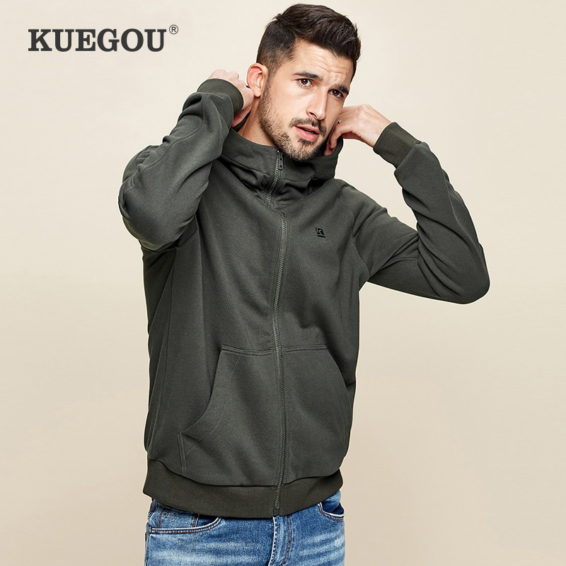KUEGOU 2021 خريف 100% ٪ قطن أسود قلنسوة بسحاب للرجال كنزة هودي هيب هوب ملابس الشارع الشهير ذكر موضة حجم كبير ملابس 2288