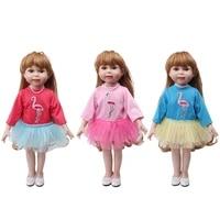 18 inch girls doll dress american newborn fashion suits baby toys dress fit 43 cm baby dolls c726