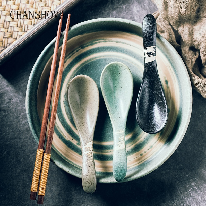 CHANSHOVA Chinese Retro Underglaze Painting High Temperature Firing Ceramic Spoon Soup Spoon Tableware Kitchen Utensils H238