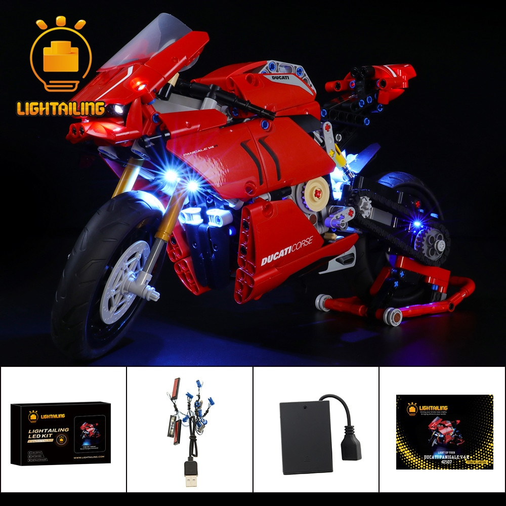 LIGHTAILING Kit de luz LED para 42107, juguetes de motocicleta técnica, modelo de bloques de construcción, juego de iluminación