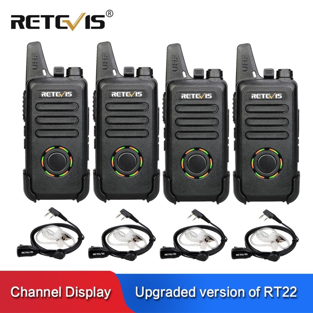 RETEVIS RT22S المحمولة اسلكية تخاطب 4 قطعة 2W UHF VOX قناة/طاقة البطارية عرض مفيد اتجاهين راديو محطة + 4 قطعة سماعة