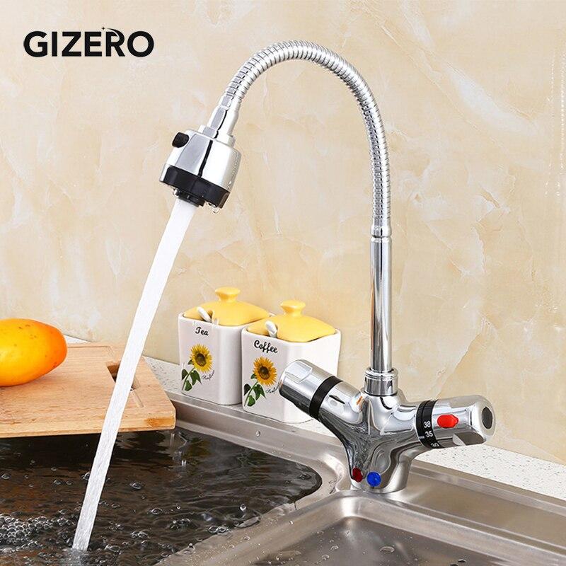 GIZERO-صنبور مطبخ ثرموستاتي ، مرن ، تحكم في درجة الحرارة الساخنة والباردة ، مثبت على سطح السفينة ، ZR986