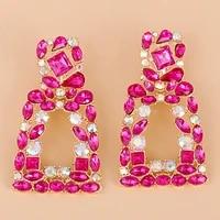 new geometric pink stone earrings big zircon wholesale statement fashion jewelry long pendant hanging earring for women 2021 za