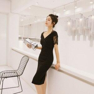 2021 Summer  New Celebrity Temperament V-Neck Stitched Lace Short-Sleeved Trim One-Step Dress