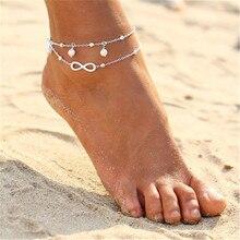 2PCS Retro Pearl Heart Infinity Ankle Anklet Bracelet Set Bohemia Foot Beach Anklets Women Fashion B