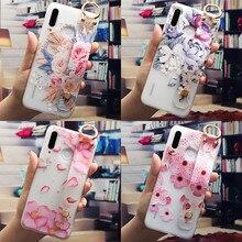 Wrist Strap Flower Phone Holder Case For Huawei P20 P30 P40 Lite E P8 P9 P10 Mate 10 20 30 Lite Pro P Smart 2019 TPU Cover Funda