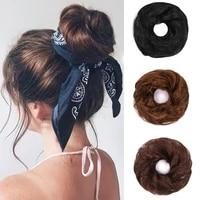 100 human hair bun chignon remy hair hairpiece fake donut extension rubber brazilian hair pieces buns for women braided chignon