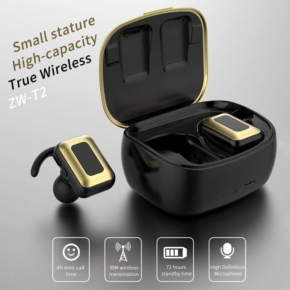 Auriculares inalámbricos ZW-T2 con Bluetooth 5,0 para TWS, Auriculares deportivos manos libres, auriculares estéreo 3D para Gaming con caja de carga de micrófono