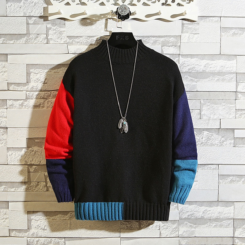 2020 New Knit Black Sweaters Korea Men'S Turtleneck Long Sleeves Autumn Winter Pullover Knitted O-Neck Plus OverSize 5XL 6XL 7XL
