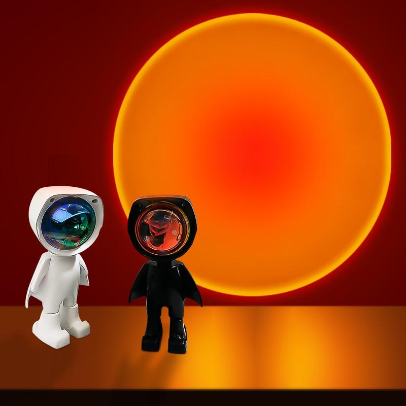 usb 360 por do sol lampada do projetor robo led projetor luzes da noite arco iris