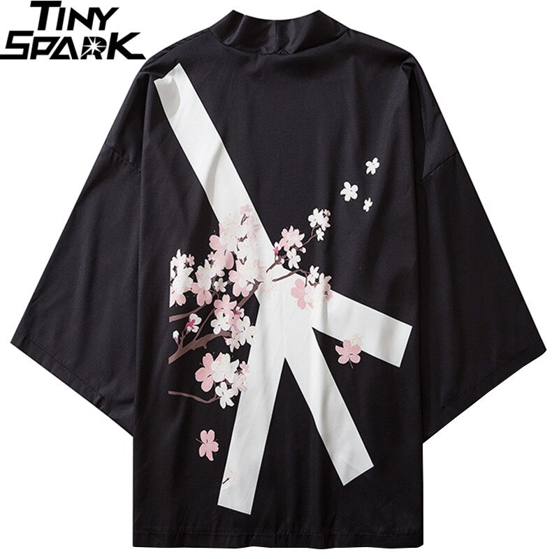 Japanese Kimono Jacket Peace Sign Floral Harajuku 2020 Hip Hop Men Japan Streetwear Jacket Summer Thin Clothes Loose Kimonos New