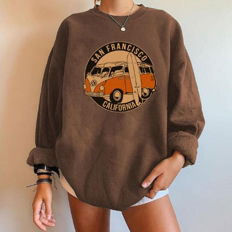 Низкая цена, акция, женские свитшоты, Сан-Франсиско, Калифорния, с принтом автобусов, большой Топ, женские пуловеры с открытыми плечами, женские