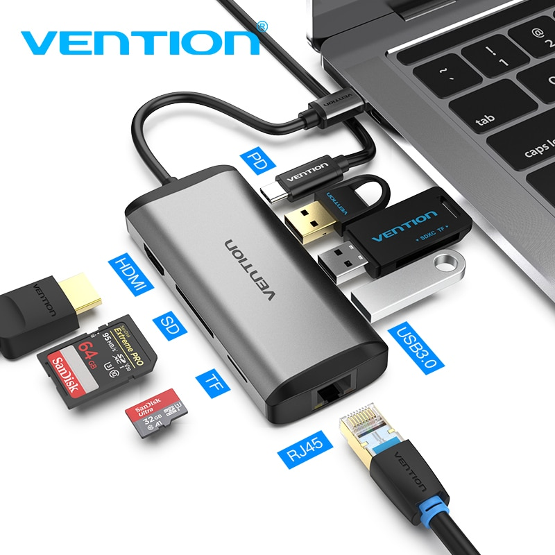 Vention USB C محور قفص الاتهام الكل في واحد نوع C إلى متعدد USB 3.0 HDMI محول لماك بوك برو 13 USB-C الهواء 3.1 الفاصل ميناء Type-C HUB