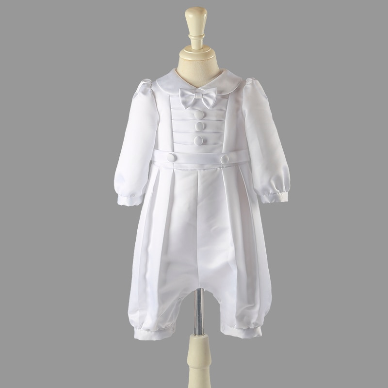 Nimble White Baby Boy Clothes Set Baptism Outfits Summer Solid Full Sleeve Bow Lace Christening Gown Newborn Gentleman Birthday