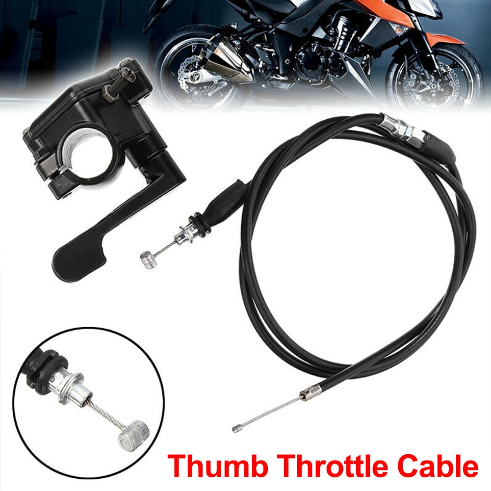 """1 pcs Motorcycle Thumb Throttle Accelerator Cable for 4 Stroke Quad ATV Pit Bike 22mm 7/8"""" Handle"""