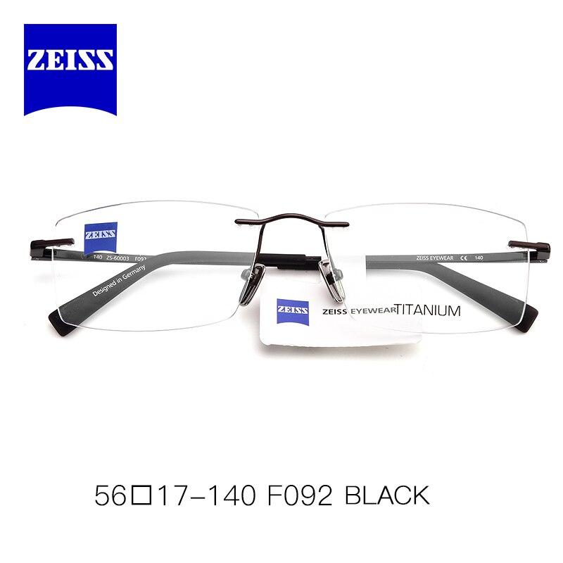 ZEISS Rimless Eyeglasses Frame Men Myopia Square Nearsighted Glasses Prescription Titanium Optical Spectacles Frames Man ZS60003