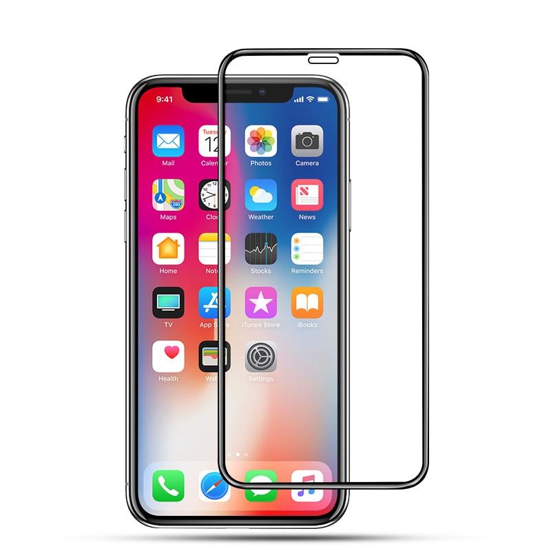 20 piezas Protector de pantalla de vidrio templado de cubierta completa para iphone x xs xr iphone xs max Protector de película cristal micas