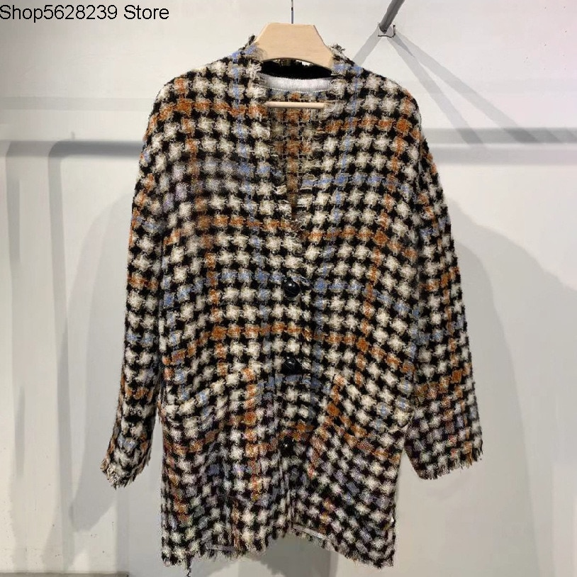 Isa~2020 Check Pattern Jacquard Leisure Loose Printing Womens Wear Thick Tweed Coat 190723