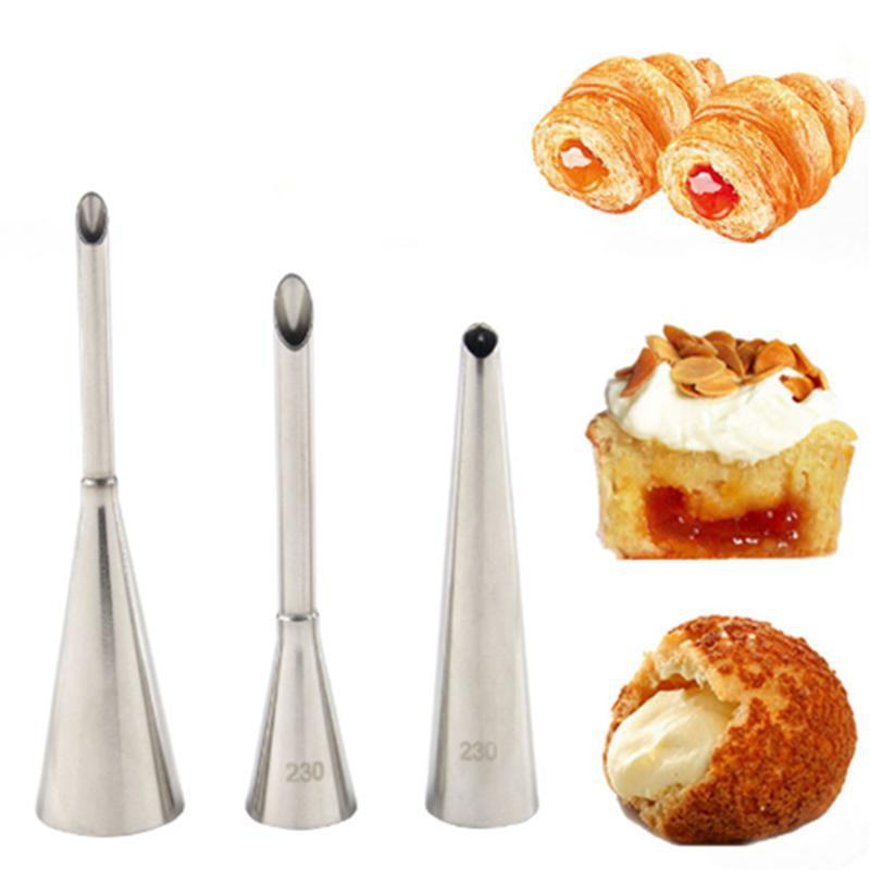 1-3pc Cream Icing Piping Nozzle Tip Stainless Steel Cupcake Puffs Injection Russian Syringe Puff Pastry Baking Tool