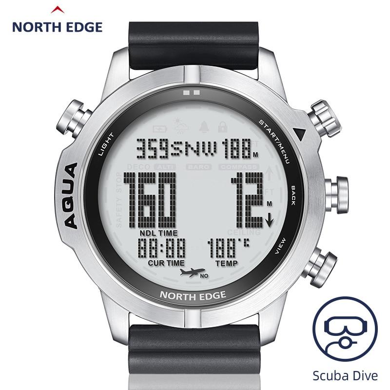 نورث ايدج المهنية ساعة غوص الرجال 10BAR Eaterproof الصيد السباحة معدات قياس الارتفاع الجوي الأكسجين