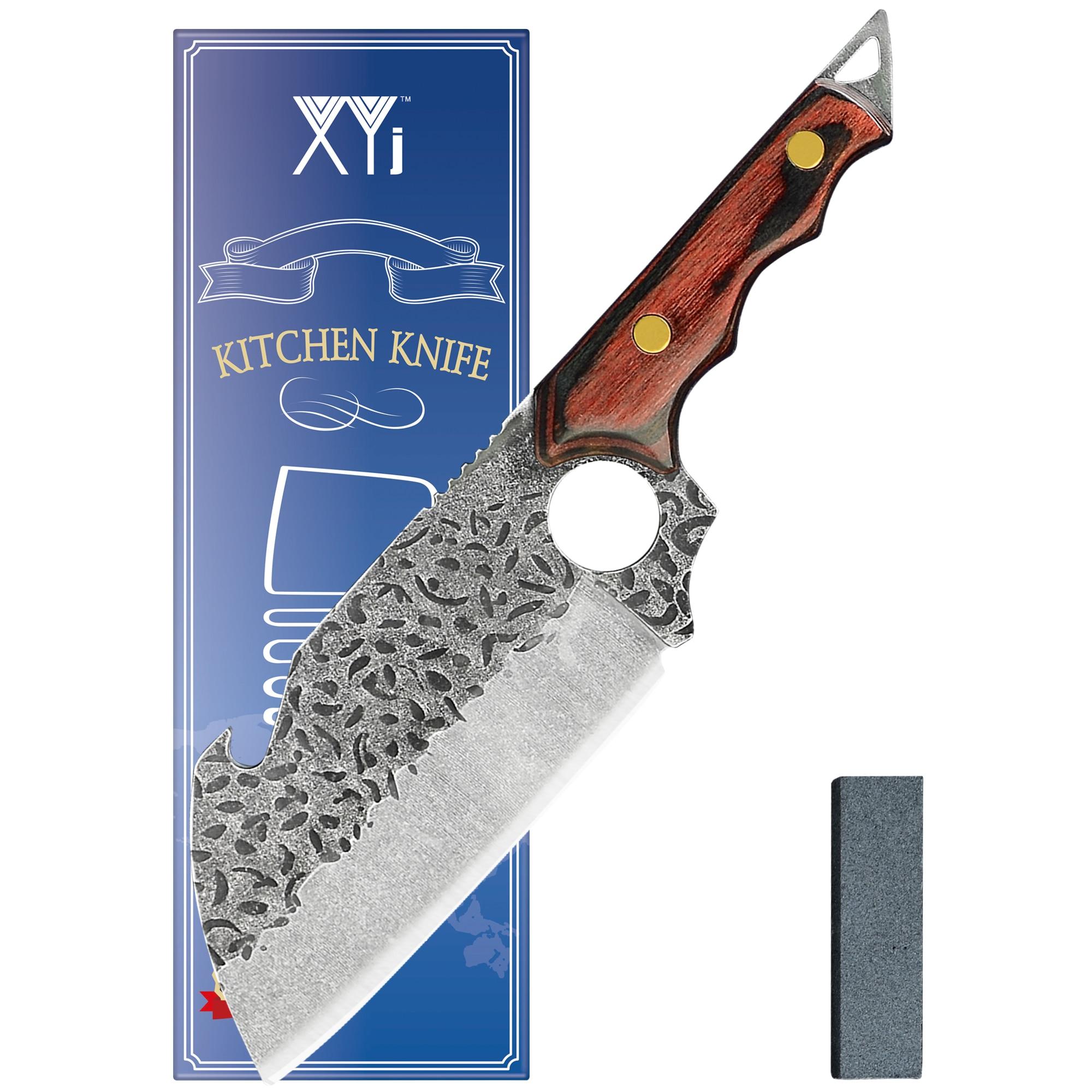 XYJ كامل تانغ 6.5 بوصة سكين صيد صغير اللحوم الساطور ذبح جزار تركيا Boning عالية الكربون الصلب السكاكين مع المشحذ