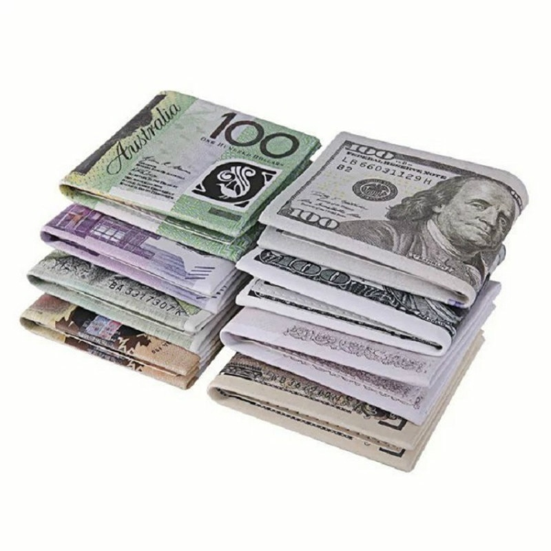 2019 New Novel Men Women Pu Leather Paper Dollar Euro Short Wallet Slim Mini Purse 2 Fold Student Cheap Gift Zipper Coin Bag