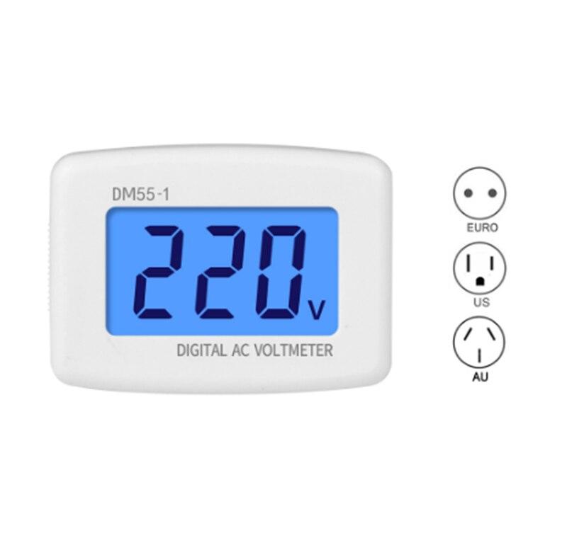 Novo DM55-1 eua au ue 80-300 v ac lcd digital tensão medidor plug voltímetro testadores backlight azul parede de medição de tensão plana