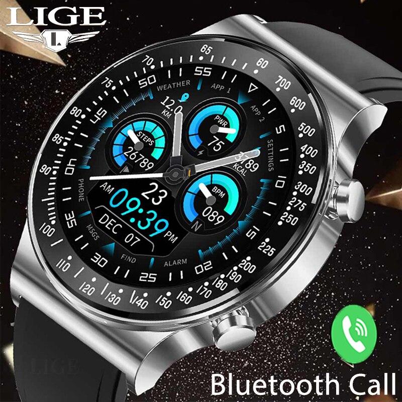 LIGE Luxury Men Smart Watch Full Touch Call Music Control Sports Fitness Tracker Women Smartwatch La