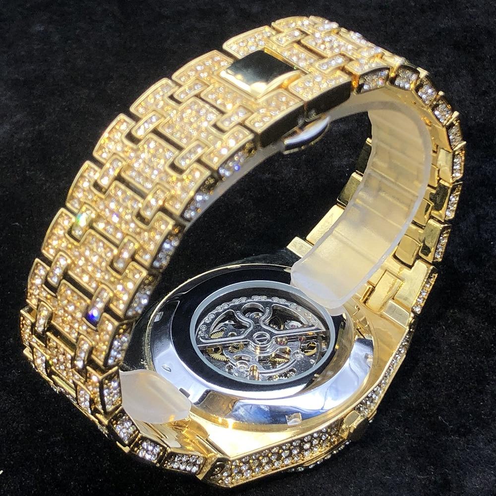 MISSFOX Tourbillon Automatic Men Watches Luxury Full Diamond 18K Gold Mens Wristwatch Hip Hop Ice Out Skeleton Mechanical Watch enlarge