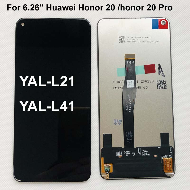 "Original AAAA para 6,26 ""Huawei Honor 20 honor 20 Pro YAL-L21 YAL-L41 YAL-AL10 pantalla LCD de montaje de digitalizador con pantalla táctil partes"