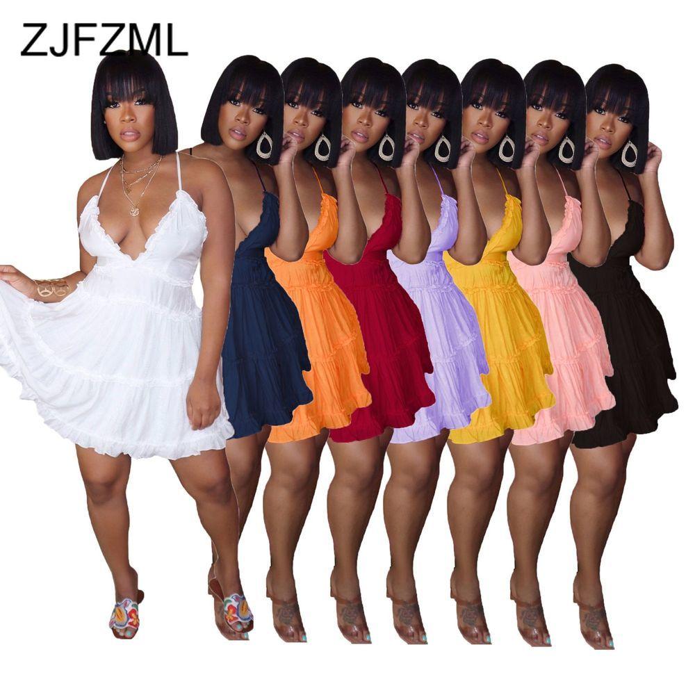 Nette Rüschen Solide Weibliche Vestidos Sexy Tiefen Hals Spathetti Strap Kreuz Zurück Mini Kleid Süße Prinzessin Reich Taille Kuchen Kleider