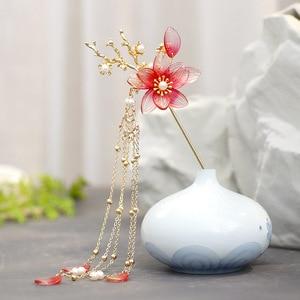 2020 New Retro Pearl Glaze Hairpin for Women Handmade Aolly Red Flower Bridal Headdress Chinese Hanfu Hair Sticks Antiquity