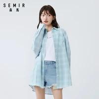 semir women long sleeve blouse 2020 new retro loose lattice design cotton casual sweet fashion shirts for woman