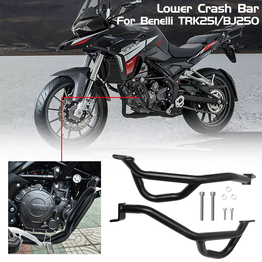 Protector de marco de barra de choque de parachoques de motor inferior de motocicleta de acero para Benelli TRK251 TRK 251 2018 2019 2020 Accesorios negro