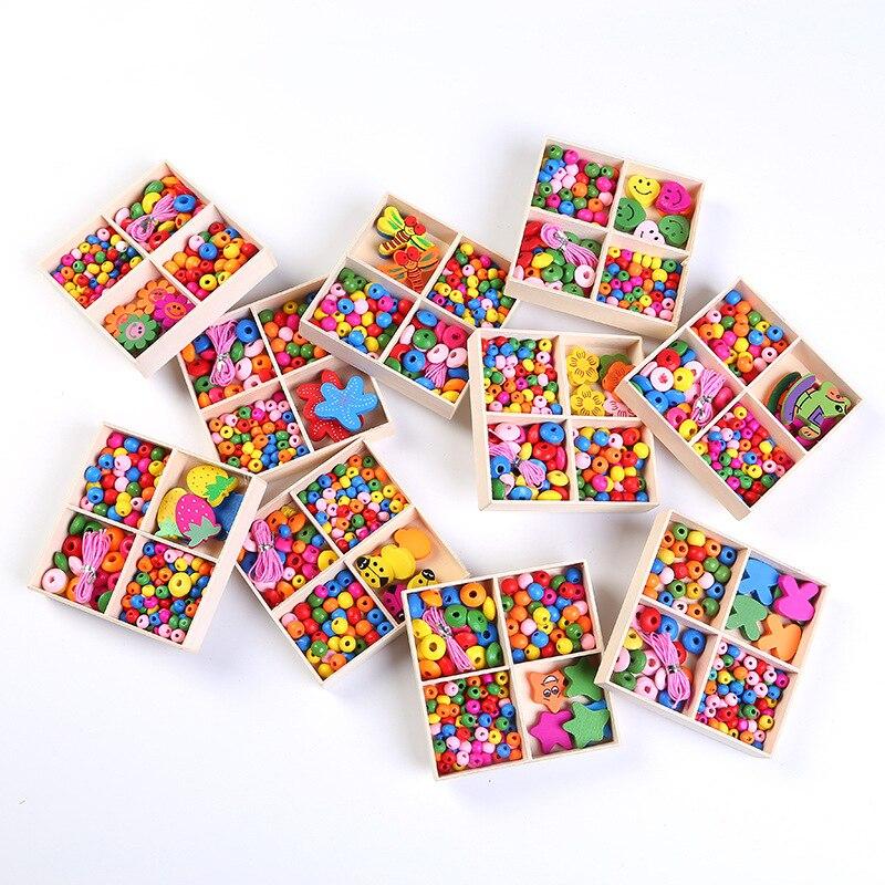 1 коробка красочных деревянных бусин для девочек, ожерелье, браслет, детские украшения «сделай сам», аксессуары, Детские бусины-головоломки,...
