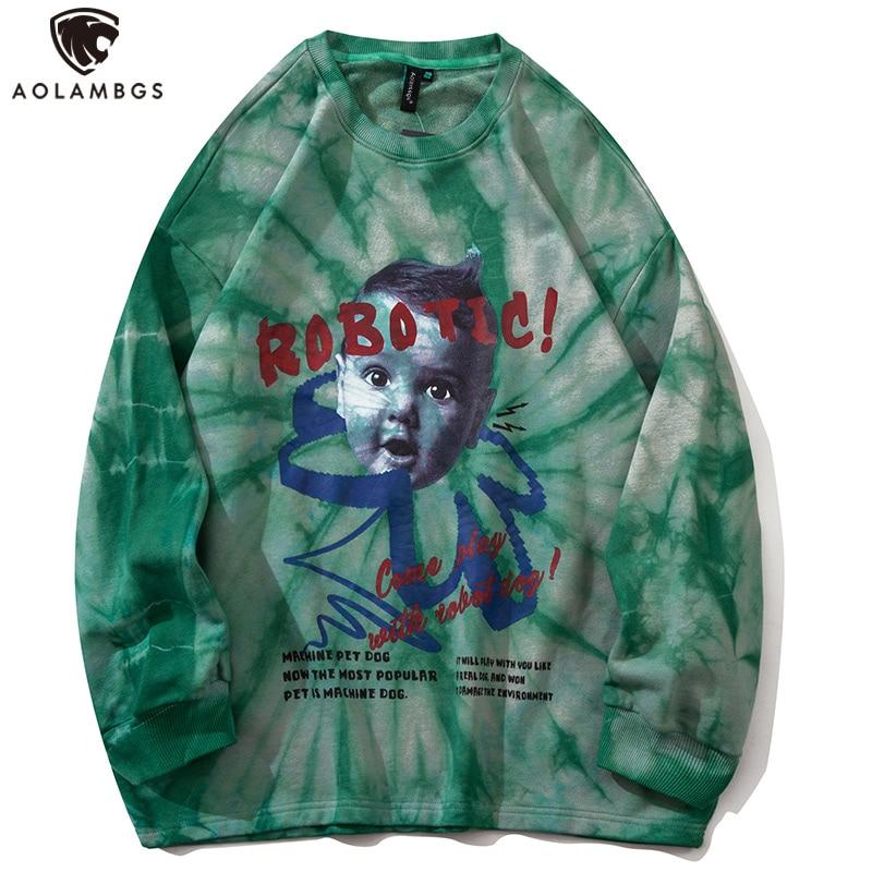 Aolamegs Grün Tie Dye Vintage Brief Vaporwave Porträt Druck Sweatshirt Männer Oansatz Herbst Hipster Hip Hop Pullover Streetwear